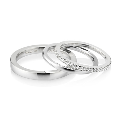 MR_Band VII MR-VII 스퀘어밴드 커플링 (중_2.7mm+소_1.5mm+소_1.5mm) 14k_WG white zircon & flat