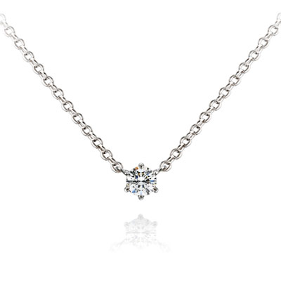 Birdcage 버드케이지_6prong 목걸이 14k_WG 0.1ct white zircon