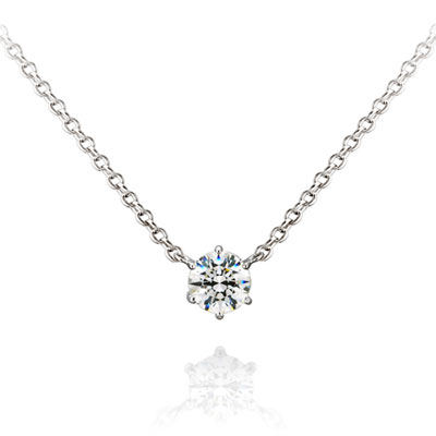 Birdcage 버드케이지_6prong 목걸이 14k_WG 0.3ct white zircon