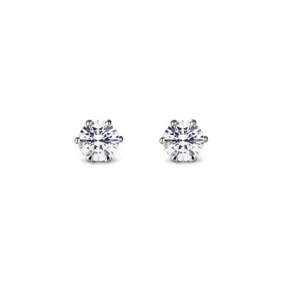 Birdcage 버드케이지_6prong 귀걸이 14k_WG 0.1ct white zircon