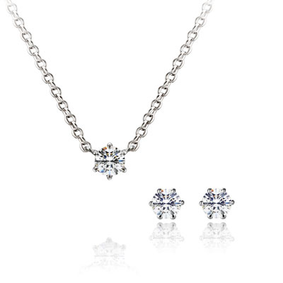 Birdcage 버드케이지_6prong Set 14k_WG 0.1ct+0.1ct white zircon