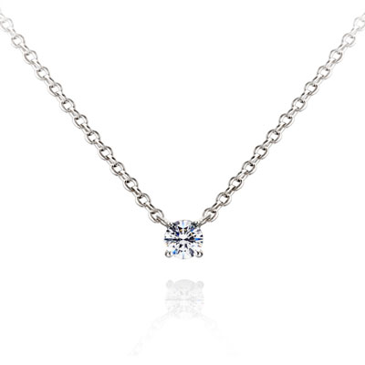 Birdcage 버드케이지_4prong 목걸이 14k_WG 0.1ct white zircon