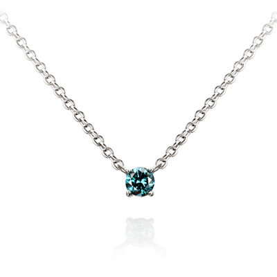 Birdcage 버드케이지_4prong 목걸이 14k_WG 0.1ct blue diamond