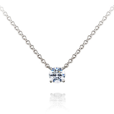 Birdcage 버드케이지_4prong 목걸이 14k_WG 0.3ct white zircon