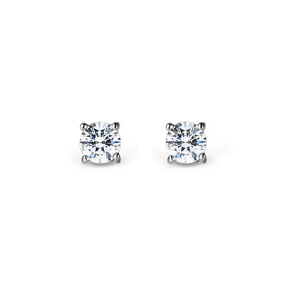 Birdcage 버드케이지_4prong 귀걸이 14k_WG 0.1ct white zircon