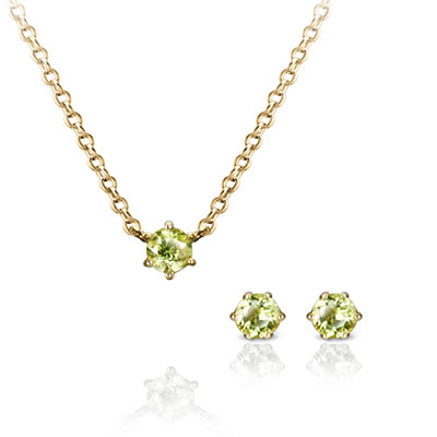 Birdcage 버드케이지_6prong Set 14k 0.1ct+0.1ct peridot