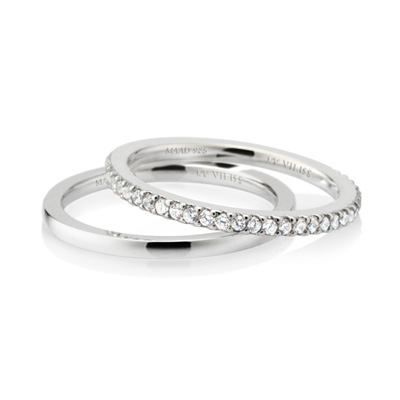 MR_Band VII MR-VII 스퀘어밴드링 (소_1.5mm+소_1.5mm) white zircon & flat