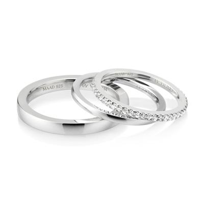 MR_Band VII MR-VII 스퀘어밴드 커플링 (중_2.7mm+소_1.5mm+소_1.5mm) white zircon & flat