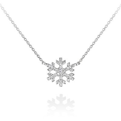 Snow 눈의 꽃 목걸이 white zircon