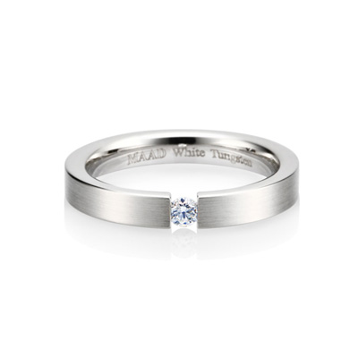 TungstenGold 게르만헤로스 텐션밴드 화이트 텅스텐반지_Satin (3mm) W.Tungsten & Cubic zirconia