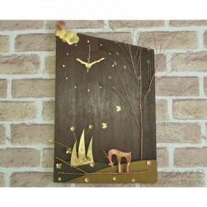 B&W 벽시계 (나무와 사슴)-그린