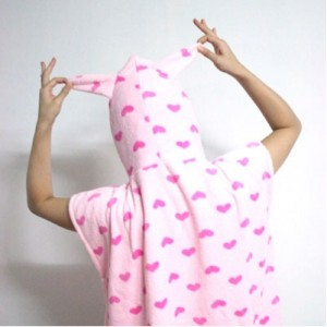 핑크하트 조끼담요