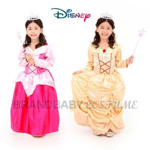 Disney 디즈니 코스튬 오로라&벨공주 셋트(양면드레스+왕관+요술봉)