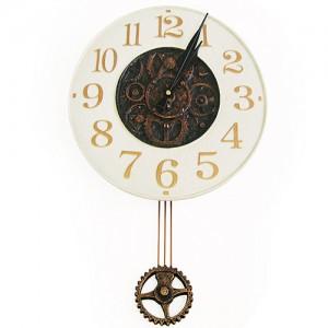 (한국산 정품) 수레바퀴벽시계(아이보리)
