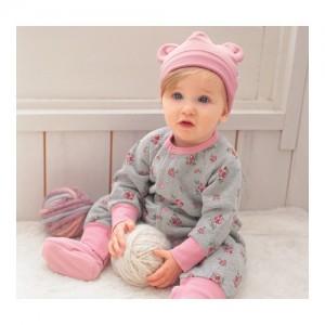 도리도 체리 핑크 기모 우주복+모자+발싸개 세트