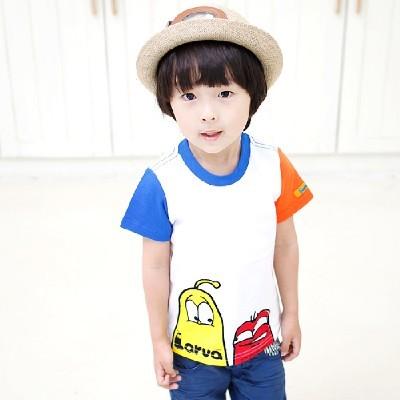 라바 배색 반팔 티셔츠