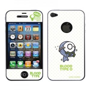 스킨플레이어 iPhone 4G 혈액형 ABO 타입 BT-03-O형 디자인 스킨