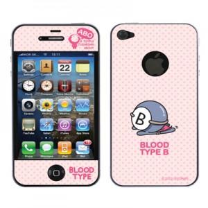 스킨플레이어 iPhone 4G 혈액형 ABO 타입 BT-02-B형 디자인 스킨