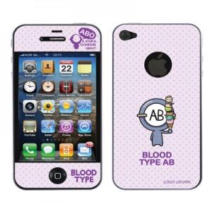 스킨플레이어 iPhone 4G 혈액형 ABO 타입 BT-02-AB형 디자인 스킨