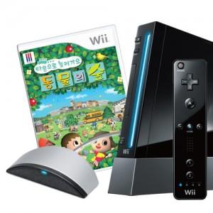 [SET] 닌텐도 wii 본체(블랙) + 타운으로 놀러가요 동물의 숲 + Wii 스피크