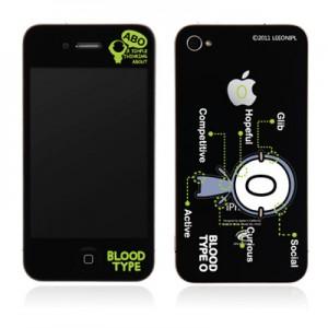 스킨플레이어 Design Jacket iPhone 4G 혈액형-BT-01-O 디자인 필름