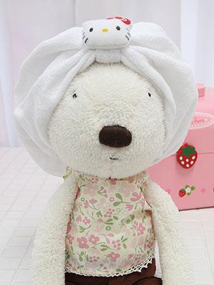 +최다판매+  [Hello Kitty] white 패브릭 헤어캡