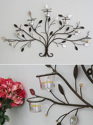미러 나뭇잎 7구 캔들 홀더 - 벽걸이형