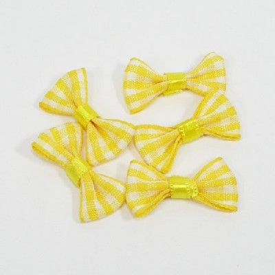 타이리본50p(체크)/ 노랑/장식공예,만들기재료