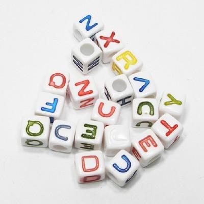 사각알파벳구슬(7mm흰색)/비즈공예재료