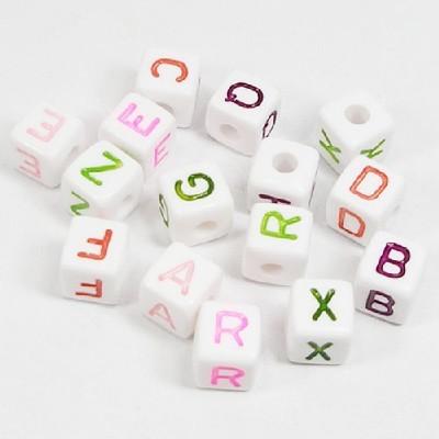 사각알파벳구슬(10mm흰색)/비즈공예재료