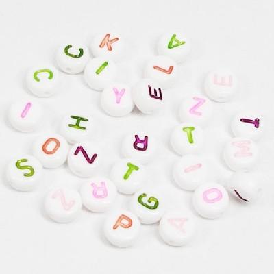 원형알파벳구슬(7mm흰색)/비즈공예재료