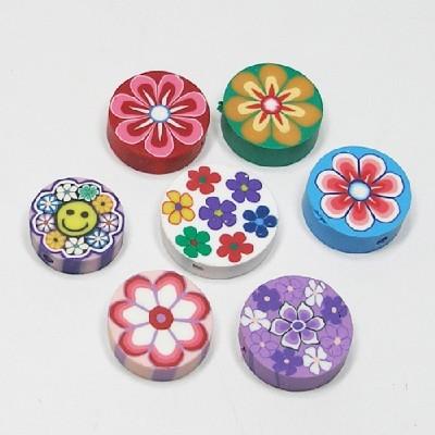 폴리머비즈/원형판꽃무늬/비즈공예재료