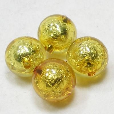 앤틱은박구슬(20mm)/노랑/비즈공예재료