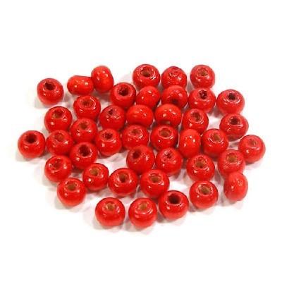 나무비즈/씨드(5mm)빨강/비즈공예재료
