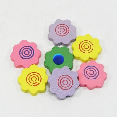 나무비즈/꽃모양서클(20mm)혼합/비즈공예재료