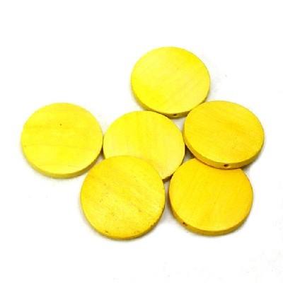 나무비즈/원형판(30mm)노랑/비즈공예재료