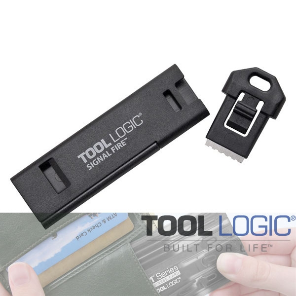 [툴로직] 시그널 파이어 / 부싯돌 / 키링/ 파이어스타터 Signal Fire Keyring Accessory - with Magnesium Fire Starter & Whistle - Black