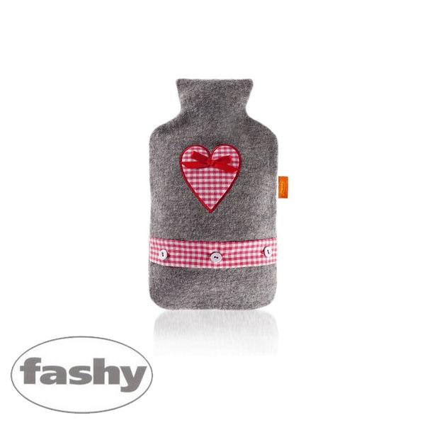 [파쉬 fashy] 보온물주머니 체크리본하트 단추띠커버 2.0L 핫팩/찜질팩 아트갤러리형