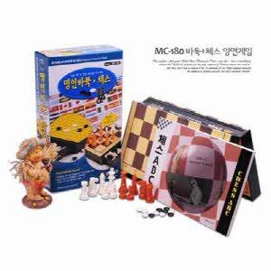 [명인랜드] 소형 자석식 체스+바둑 양면게임 (MC180)
