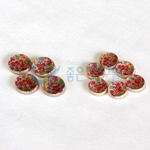 만들기재료/꾸미기재료/꽃무늬단추(고급-대)1봉(4개입)
