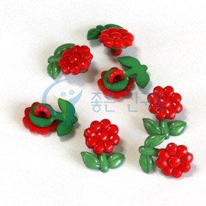 만들기재료/꾸미기재료/볼록이단추/빨간꽃단추(고급)1봉(7개)
