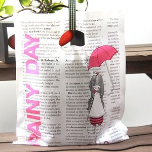 좋은친구들 비닐쇼핑백/링타입 비닐쇼핑백(25x35)100장-팬시봉투_우산소녀