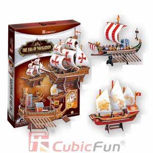 [큐빅펀] (3D입체퍼즐) 항해시대 선박4종 (T4001H)