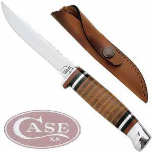 [케이스XX] 나이프 00379 캠핑용 나이프/Leather Hunter-유광가죽 손잡이