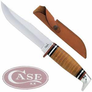 [케이스XX] 나이프 00385 캠핑용 나이프/Leather Hunter-유광가죽 손잡이