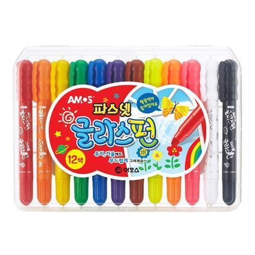 8000 파스넷 글라스펀 12색 아모스 수성 색연필