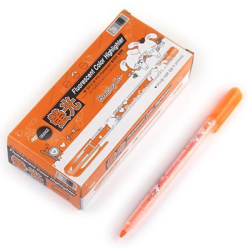 300 바른손 슬리핑코 형광펜 24개입 오렌지색 주황색 사인펜