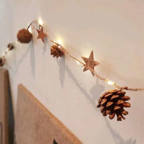 따뜻한 솔방울과 별 led 조명 가랜드 크리스마스장식