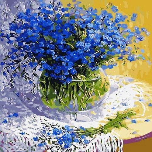 피포페인팅 q052 파란패랭이꽃 diy명화그리기 셀프페인팅