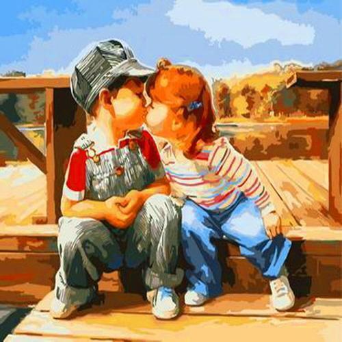피포페인팅 B35 장난스러운 키스 DIY명화그리기 홈갤러리